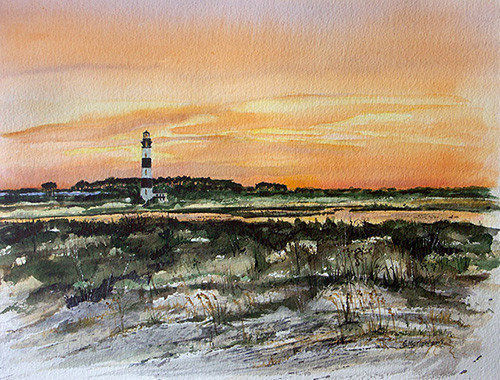 Watercolor of Bodie Island Lighthouse at sunset, viewed from ocean sand dunes, Outer Banks, NC